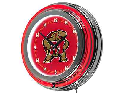 University of Maryland Chrome Double Ring Neon Clock