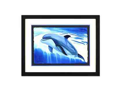 "Wyland ""Dolphin Up"" Signed 23.5"" x 15"" Original Watercolor Painting"