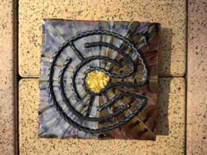Labyrinth Art: Citrine, Leather & Pheasant Feather