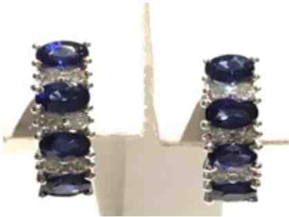 Blue Sapphire and Diamond Earrings (2.14 ctw)