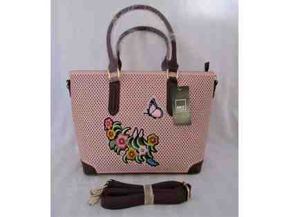 Wine Perforated Floral Tote