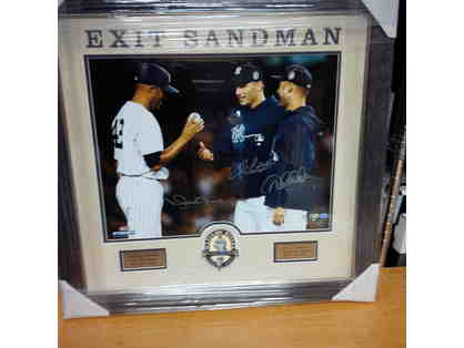 Exit Sandman Photograph Hand Signed by Mariano Rivera, Derek Jeter and Andy Petitte